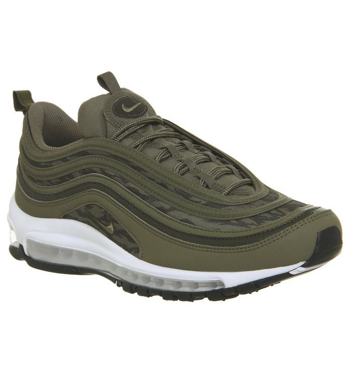 ee27779587 Air Max 97 Trainers; Nike, Air Max 97 Trainers, Medium Olive Sequoia Black  White ...