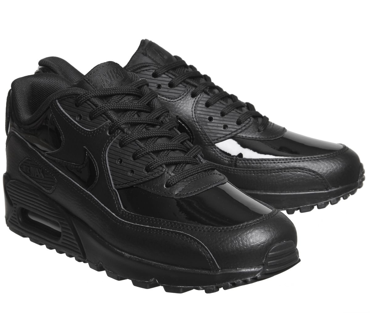 free shipping 3db8e 6e225 Nike Air Max 90 Trainers Black Patent - Unisex Sports