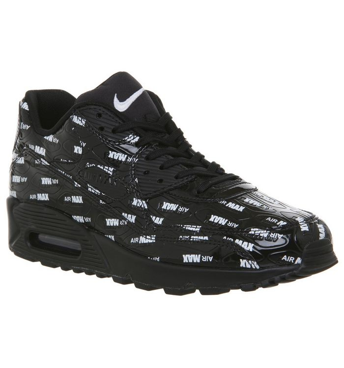 29dc720bd7 Air Max 90 Trainers; Nike, Air Max 90 Trainers, All Over Logo Black White  ...