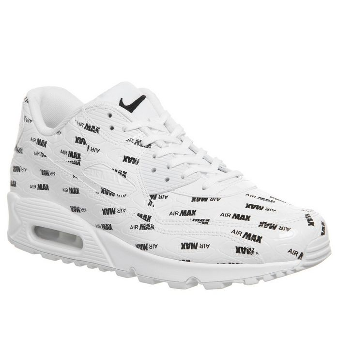 65018965c1 Air Max 90 Trainers; Nike, Air Max 90 Trainers, All Over Logo White Black  ...