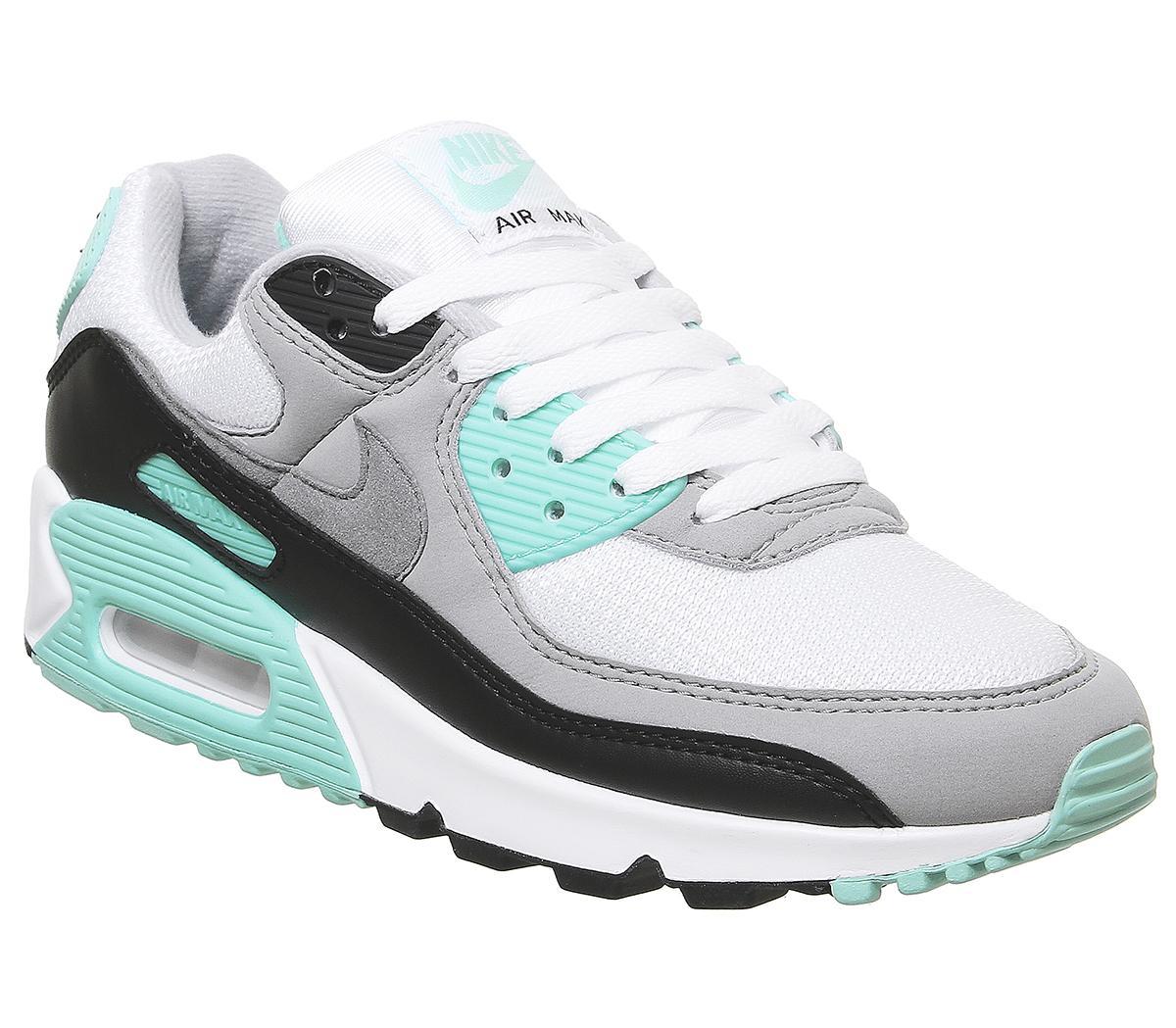 Gaseoso Avanzar por qué  Nike Air Max 90 Trainers White Grey Hyper Turquoise - Hers trainers