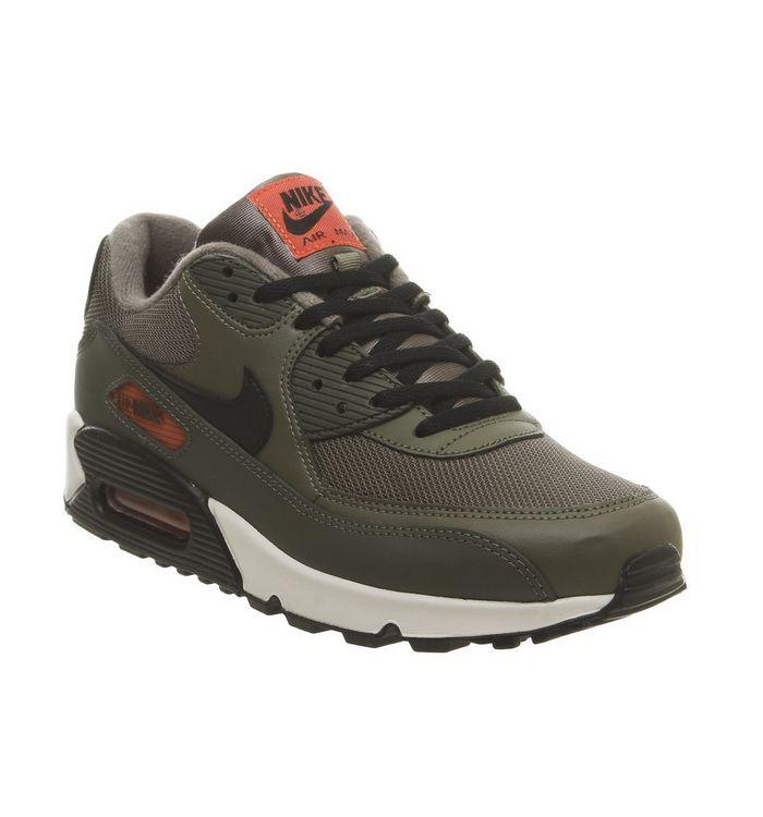 sports shoes f8dba 945a2 Air Max 90 Trainers  Nike, Air Max 90 Trainers, Medium Olive Black Team  Orange Cargo Khaki ...