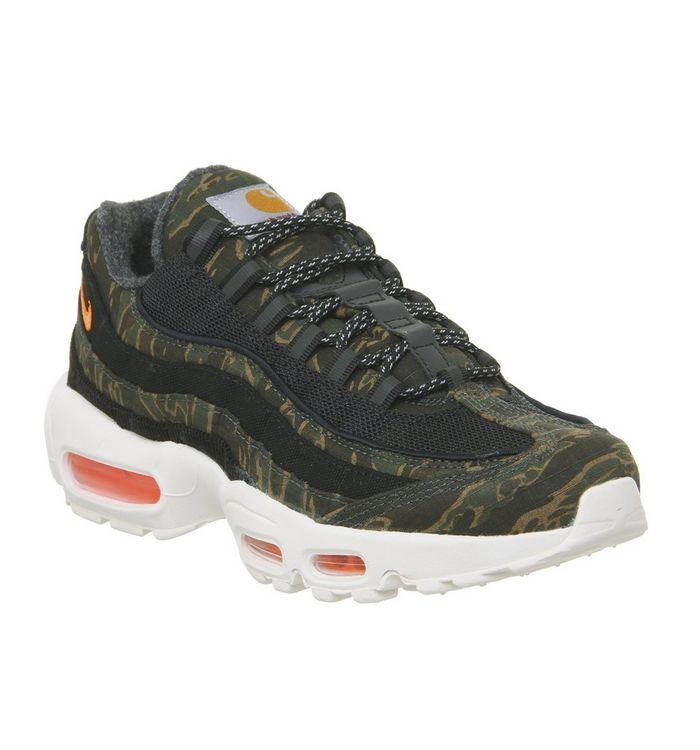 fa010bd7e1 Air Max 95 Trainers; Nike, Air Max 95 Trainers, Carhartt Black Total Orange  Sail ...