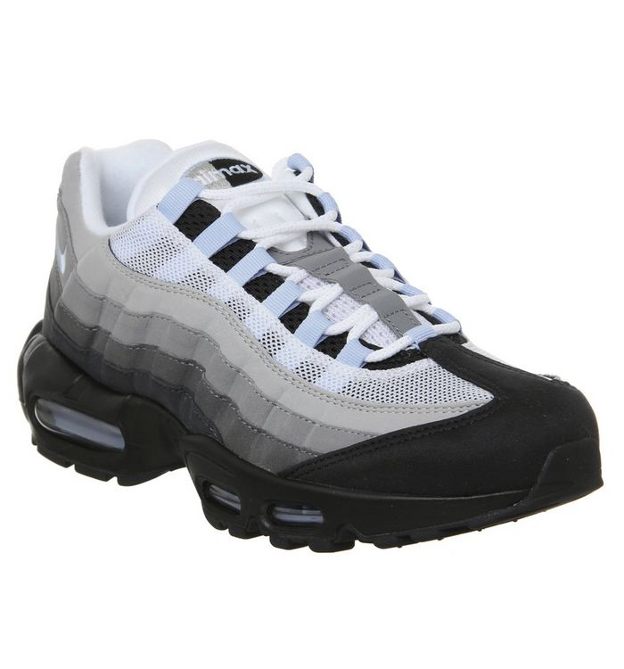 78b3053f53 Air Max 95 Trainers; Nike, Air Max 95 Trainers, Black White Blue Og ...