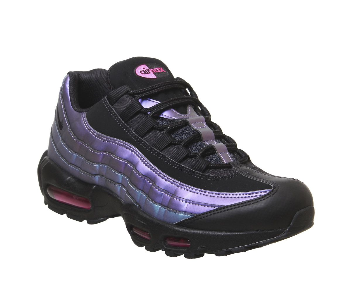 newest 5432f fe924 Nike Air Max 95 Trainers Black Black Laser Fuchsia - His trainers