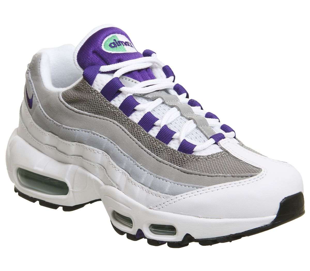 san francisco a460b 34545 Nike Air Max 95 Trainers White Court Purple Emerald Green F - Hers ...