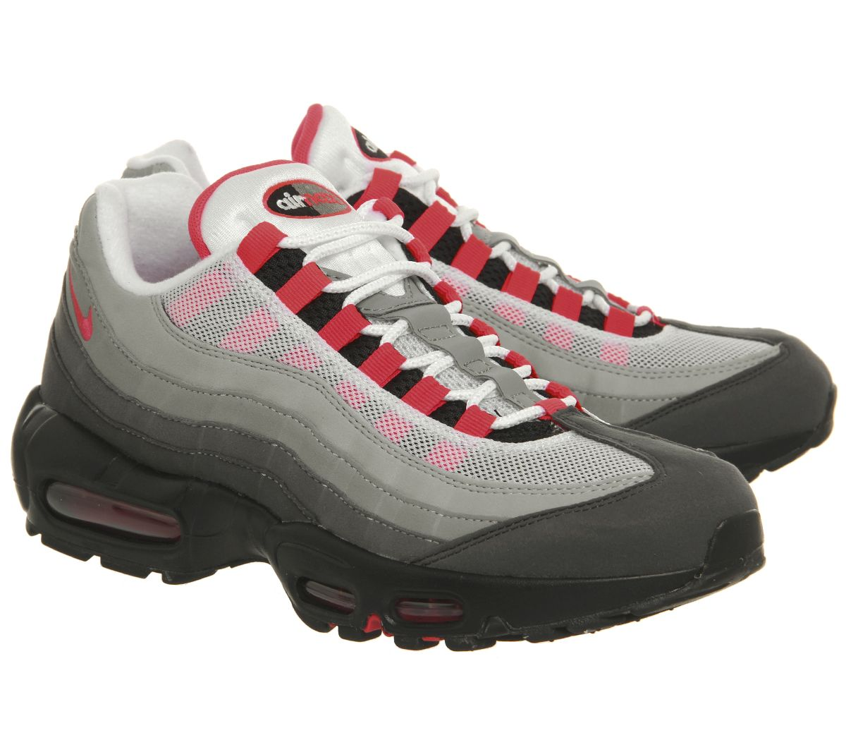 14223c70ae Nike Air Max 95 Trainers White Solar Red Granite - Hers trainers
