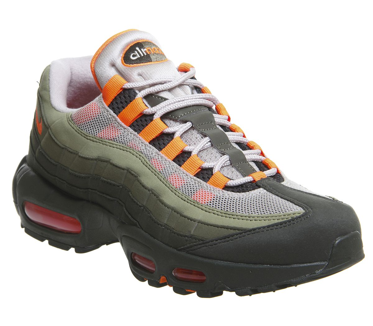 new product 11c82 90ad2 Nike Air Max 95 Trainers String Total Orange Medium Olive Khaki ...