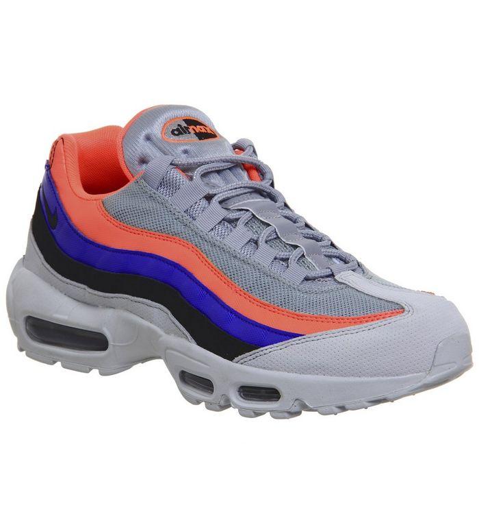 meet ae2d8 c90c6 Air Max 95 Trainers  Nike, Air Max 95 Trainers, Pure Flat Black Bright  Mango Racer Blue ...