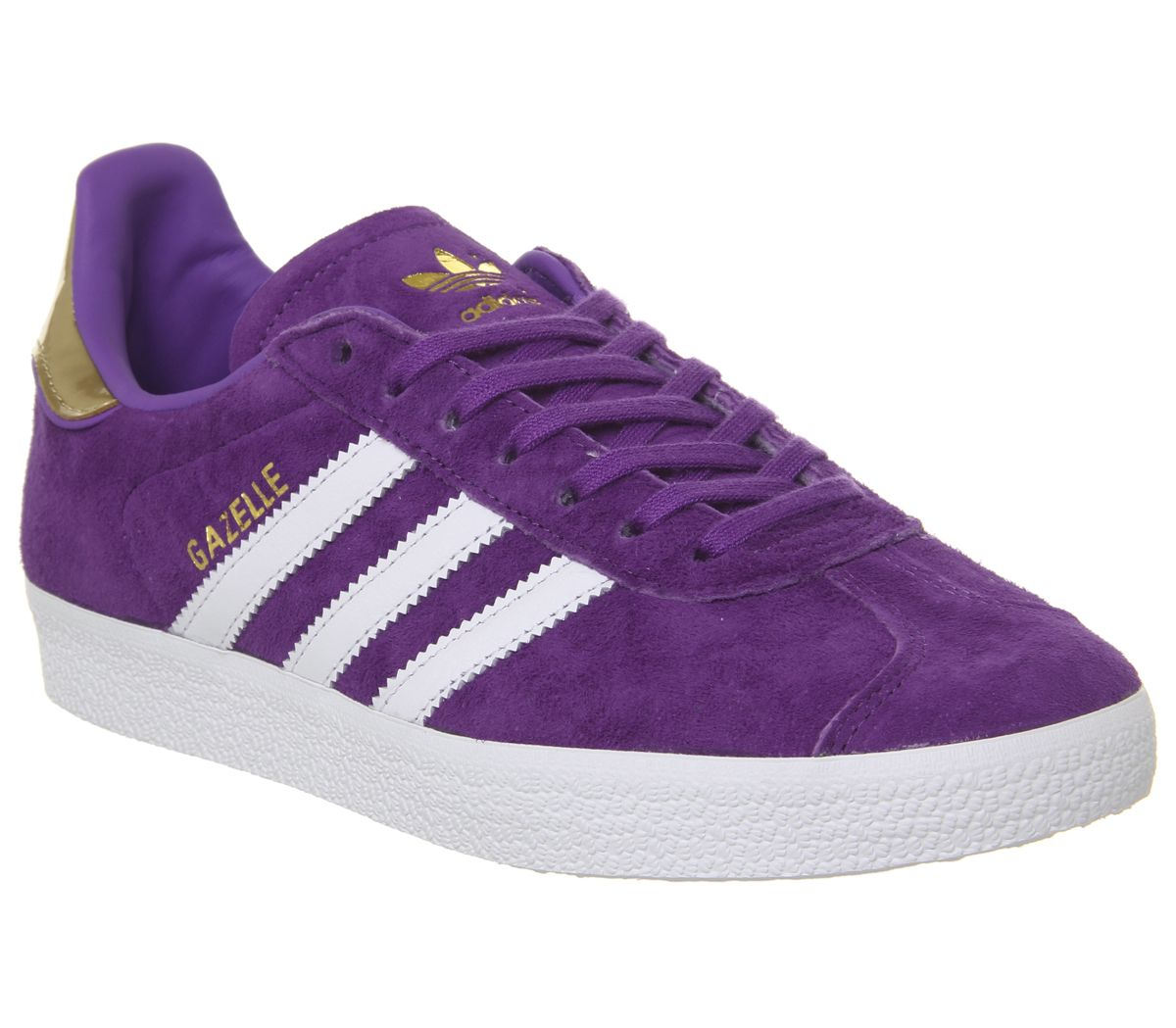 promo code 074ba 516c7 adidas Gazelle Trainers White Purple Gold Metallic Elizabeth Tfl ...