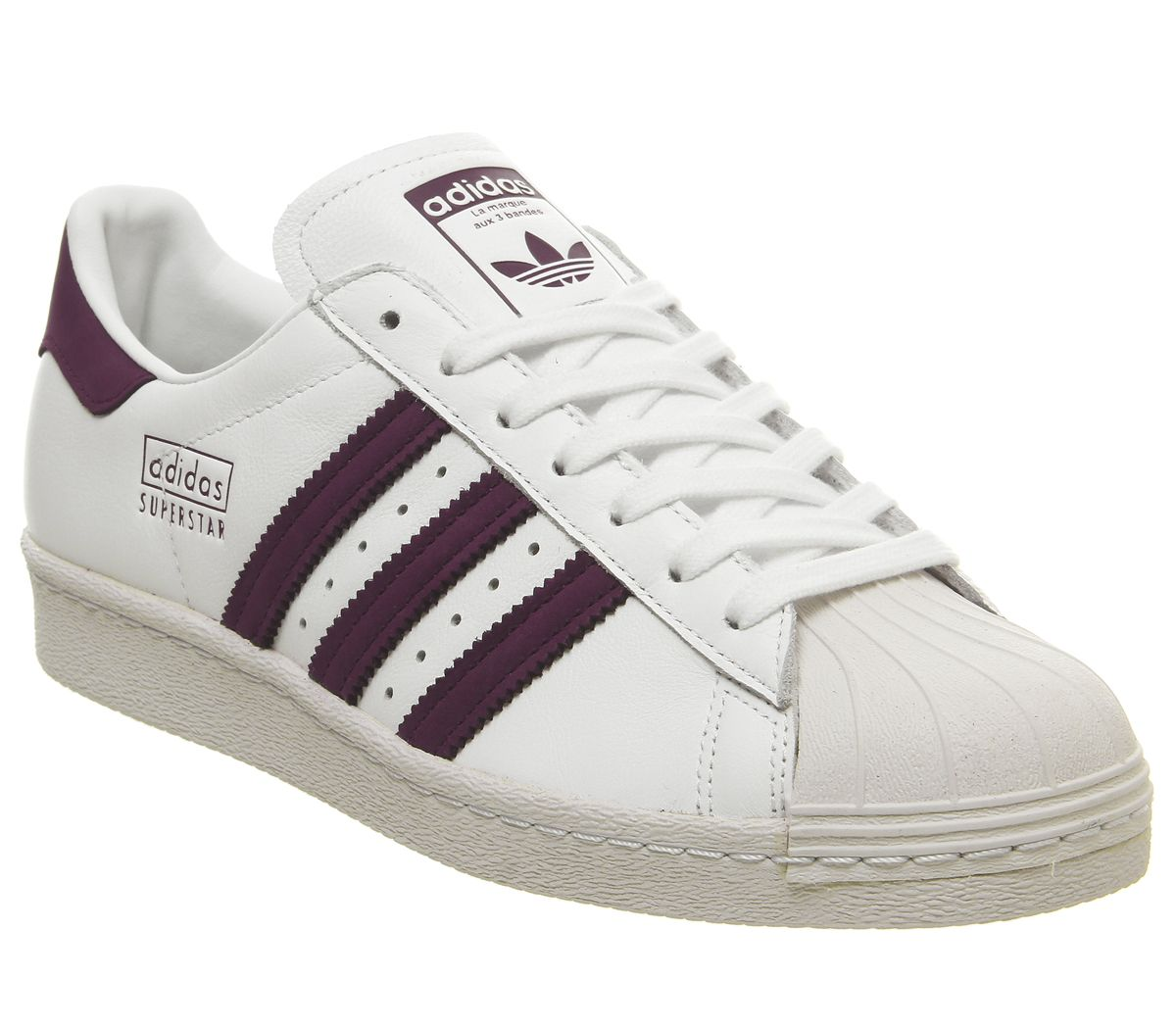 on sale 26164 698c5 adidas Superstar 80s Trainers White Maroon Crystal White - Unisex Sports