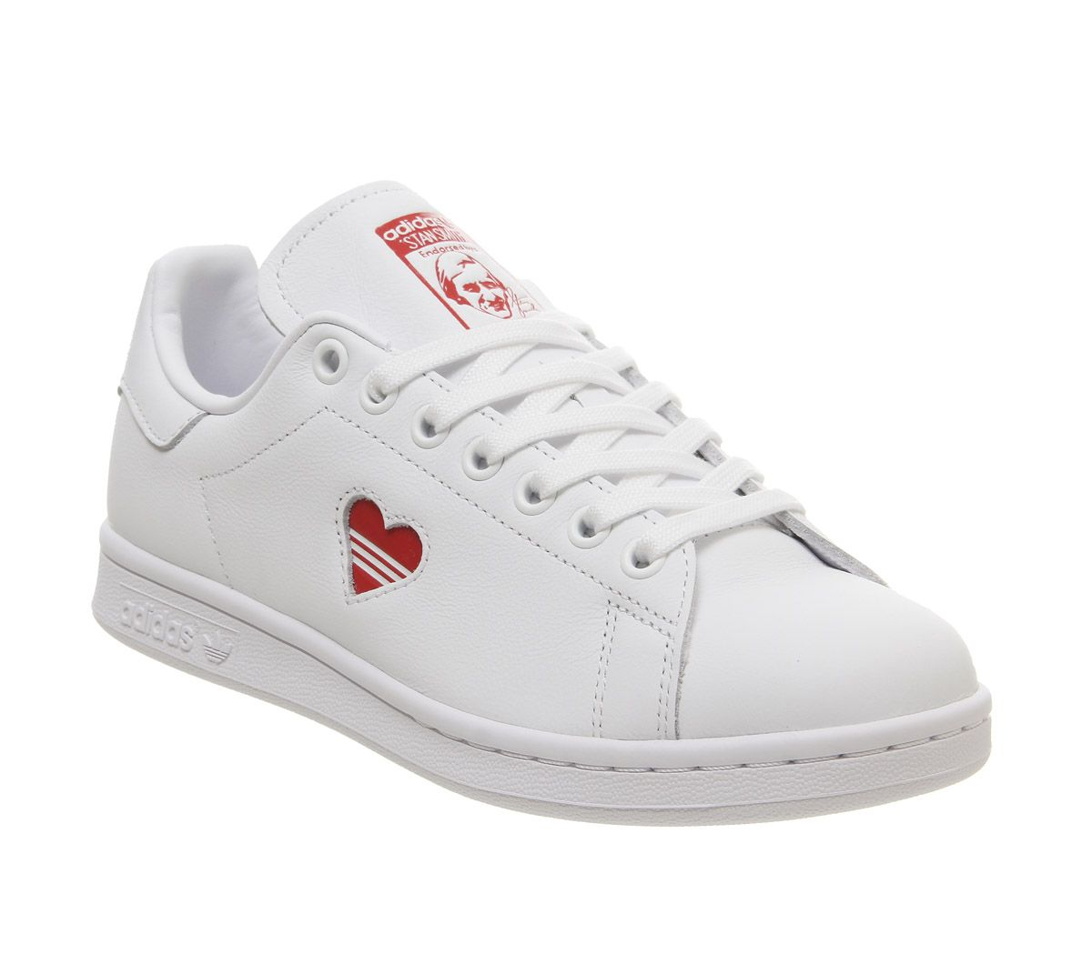 outlet store a165d 08556 adidas Stan Smith Trainers White Red Heart - Hers trainers
