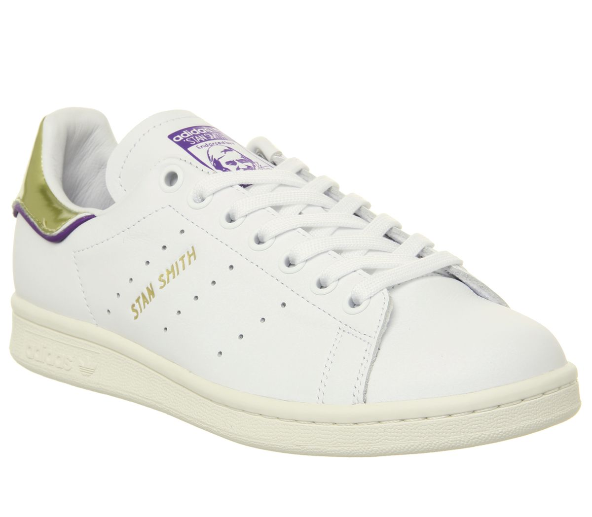low priced 27655 2f089 adidas Stan Smith Trainers Off White Purple Gold Metallic Elizbeth ...