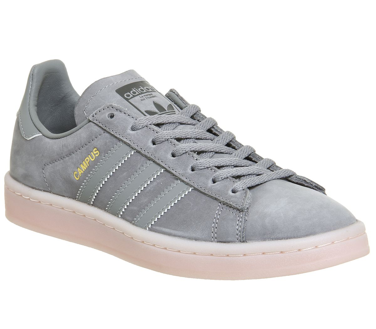 big sale 7fcab 08991 adidas Campus Trainers Grey Three Icey Pink - Hers trainers