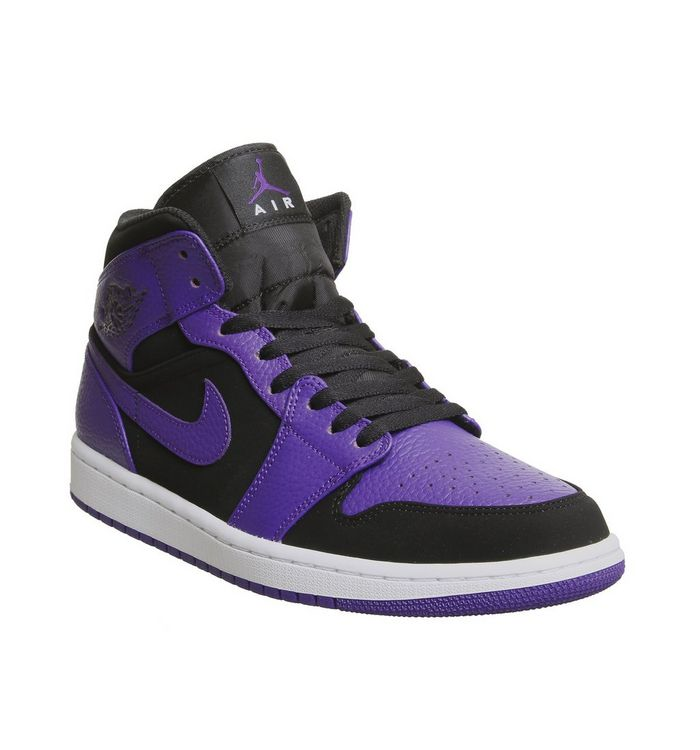 a80913538c46d4 Jordan Air Jordan 1 Mid Trainers Black Dark Concord White - His trainers
