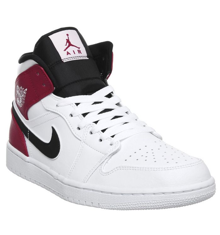 bb13dc05606 ... Jordan, Air Jordan 1 Mid Trainers, White White Black Gym Red ...