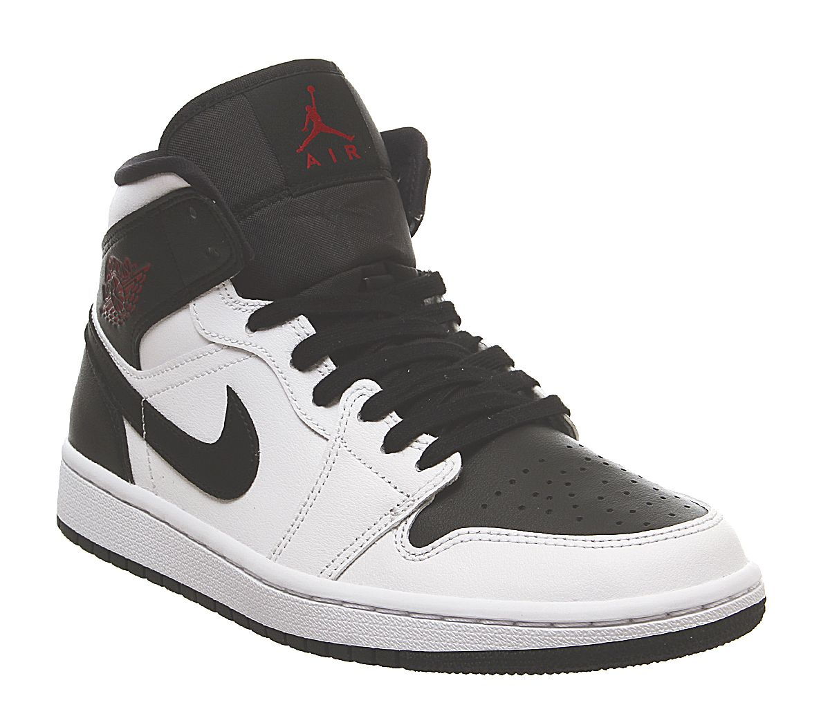 new style 2d4a2 63b5a Jordan Air Jordan 1 Mid Trainers White Gym Red Black F - His ...