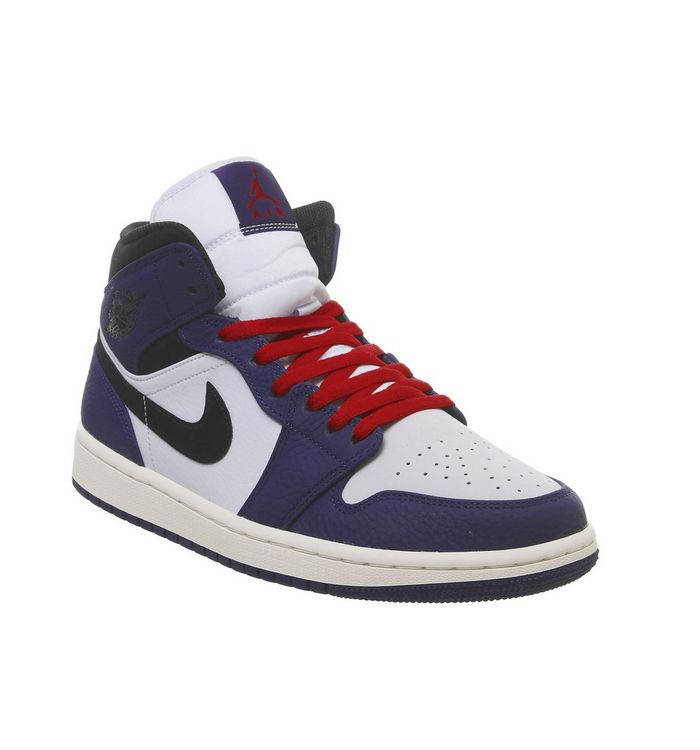 7092b6e3664139 Jordan Air Jordan 1 Mid Trainers Deep Royal Blue Black Half Blue ...