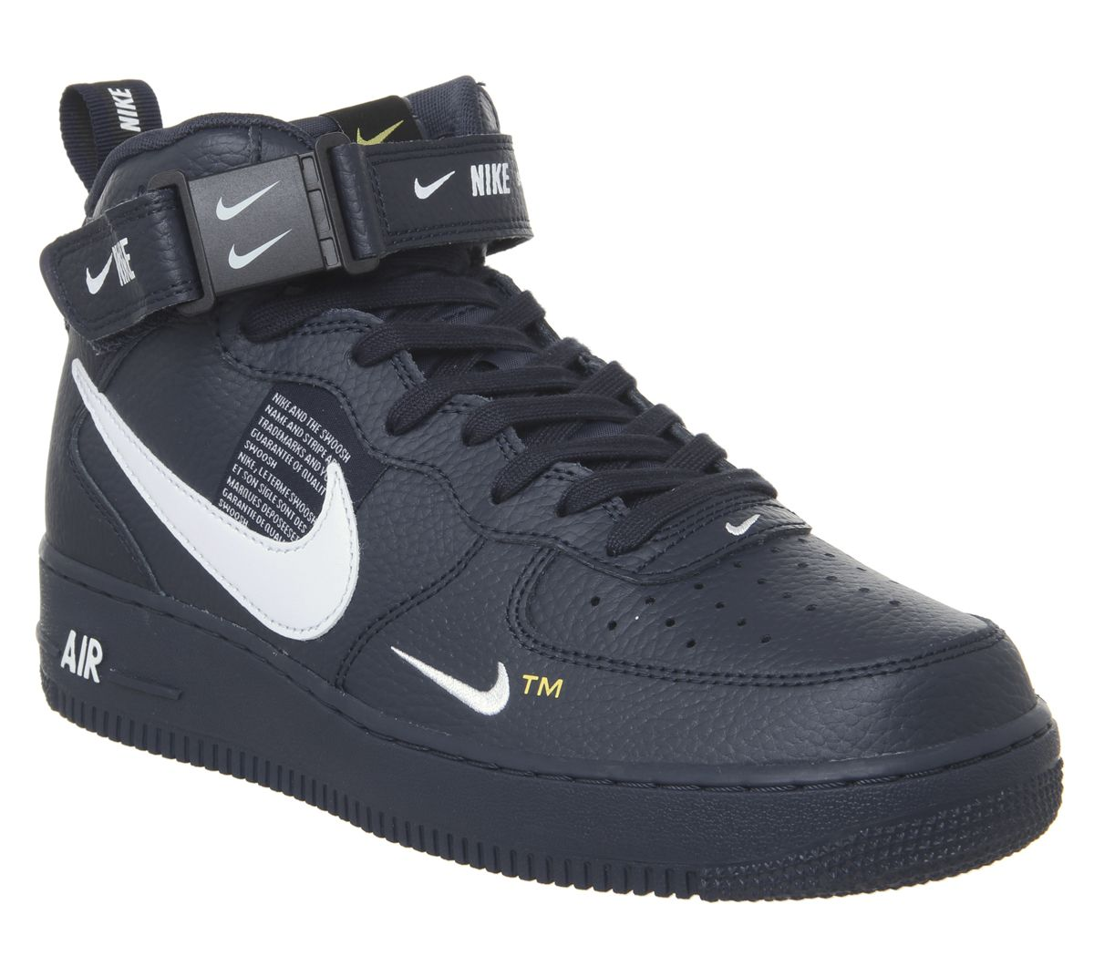 super popular 11482 2b844 Nike Air Force 1 Mid Lv8 Trainers Obsidian White Black Tour Yellow ...