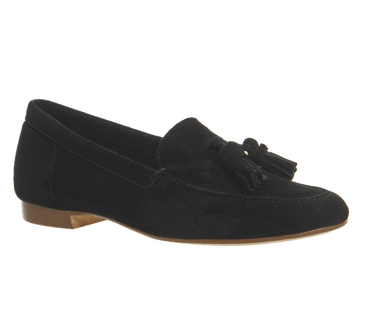 1af592a11b9 Office Retro Tassel Loafers Black Suede - Loafers