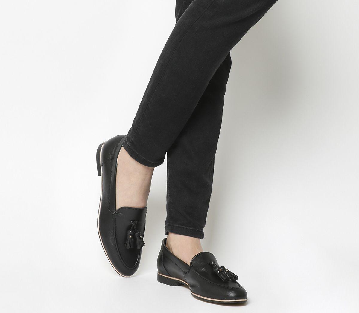 84af096b105 Office Retro Tassel Loafers Black Leather Rose Gold Rand - Flats