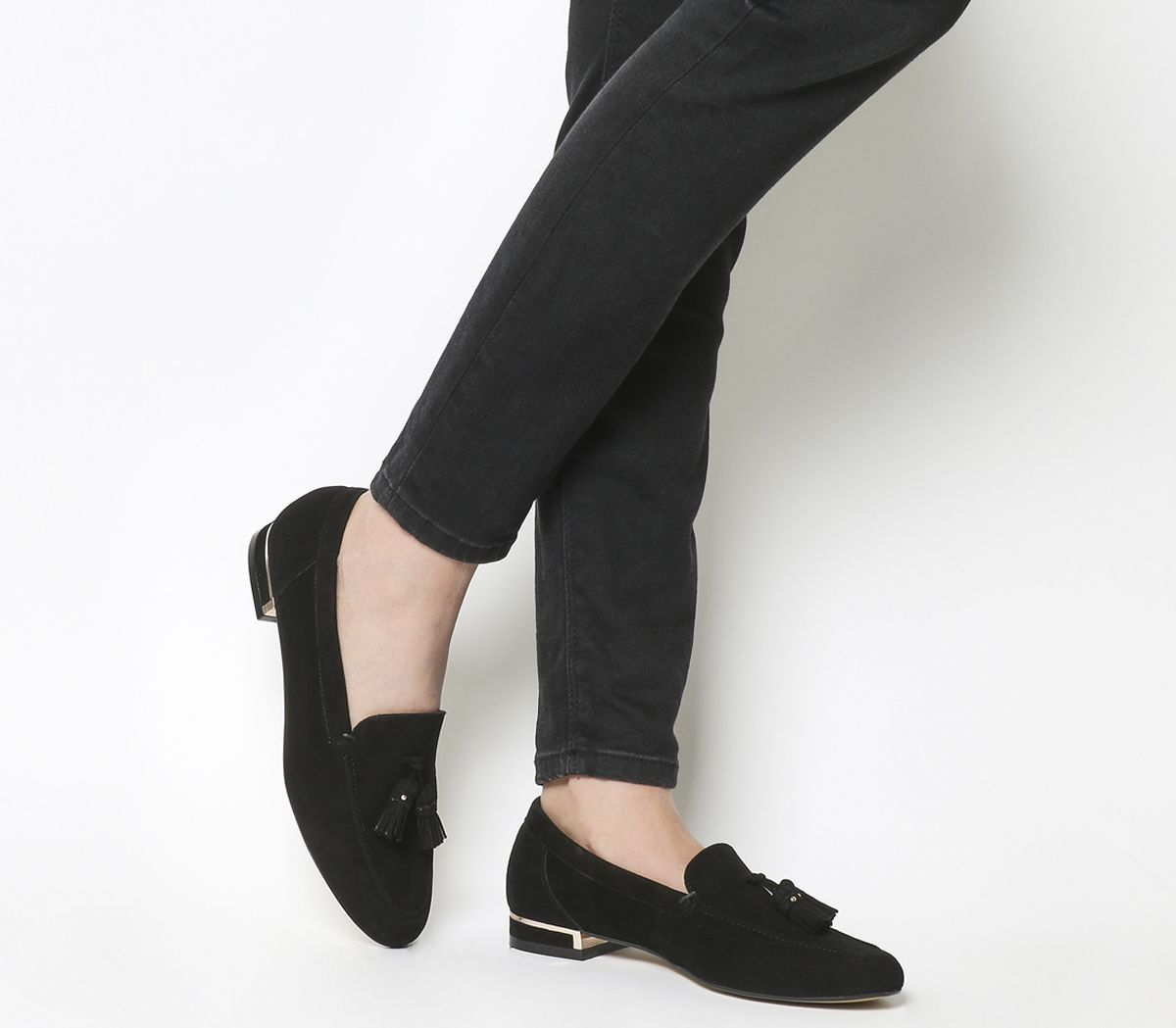 4b71b0934b5 Office Retro Tassel Loafers Black Suede Rose Gold Heel - Flats