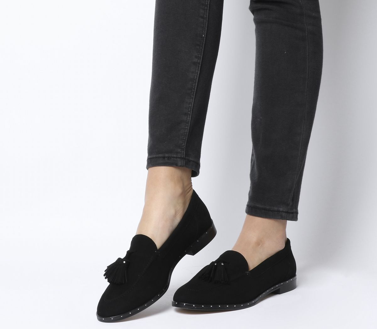 9d5ba05b592 Office Retro Tassel Loafers Black Suede With Studded Rand - Flats