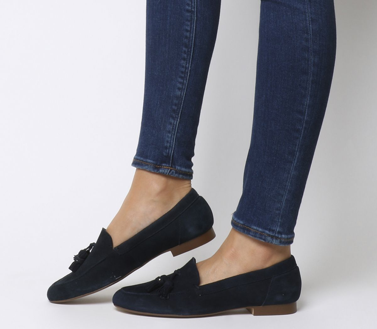 83a6a00f1f4 Office Retro Tassel Loafers Navy Suede - Flats