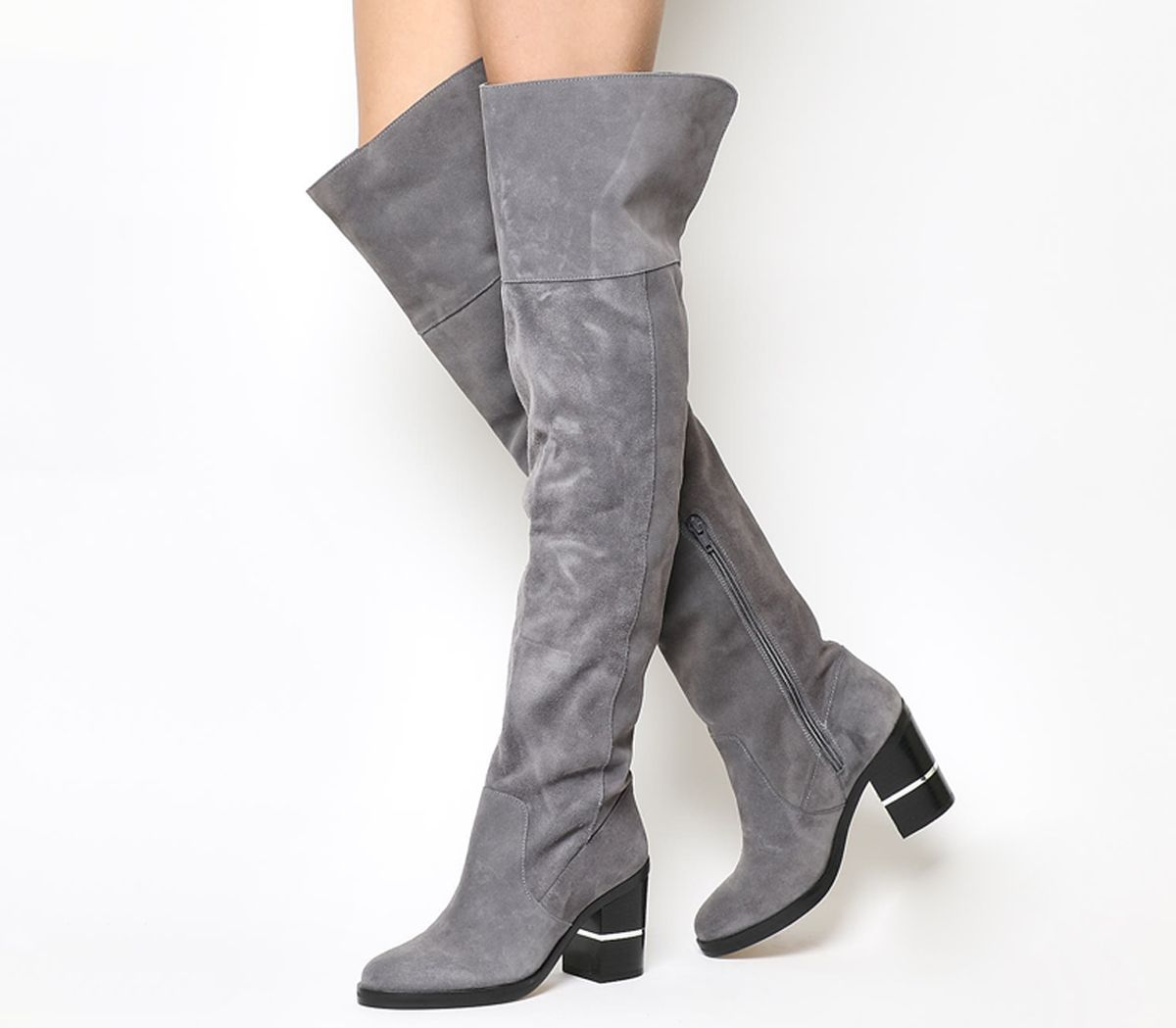 9ad95cb7e48 Office Elemental Over the Knee Boots Grey Suede - Knee Boots
