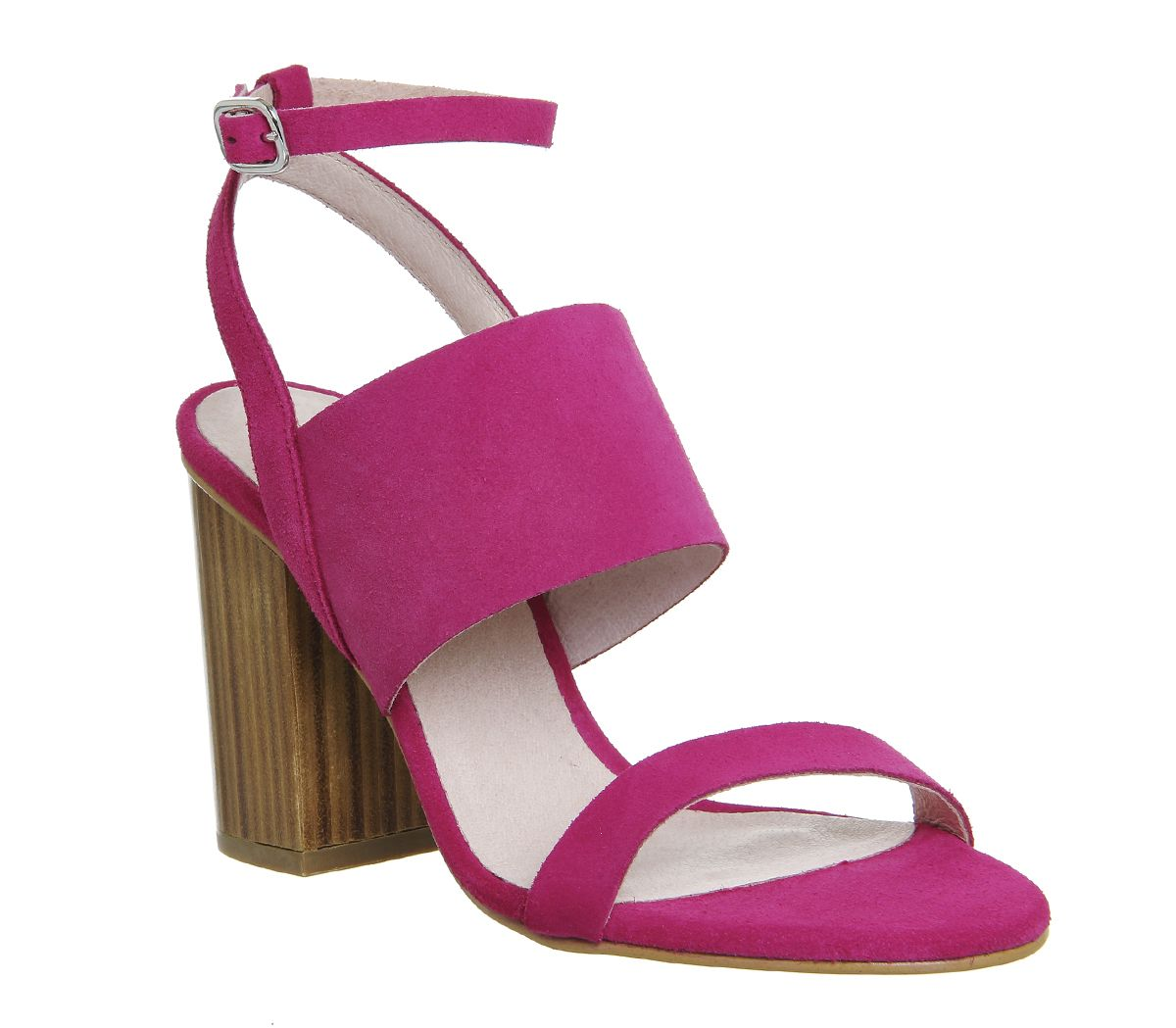 7162851847 Office Time 3 Strap Block Heel Sandals Pink Suede Wood Heel - High Heels