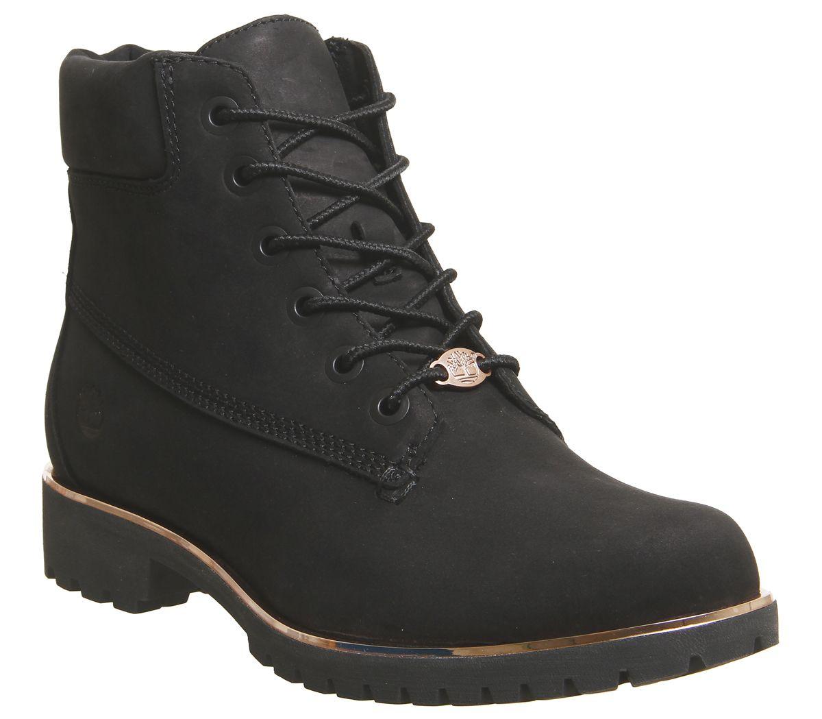 Timberland Slim Premium 6 Inch Boots Black Rose Gold Rand
