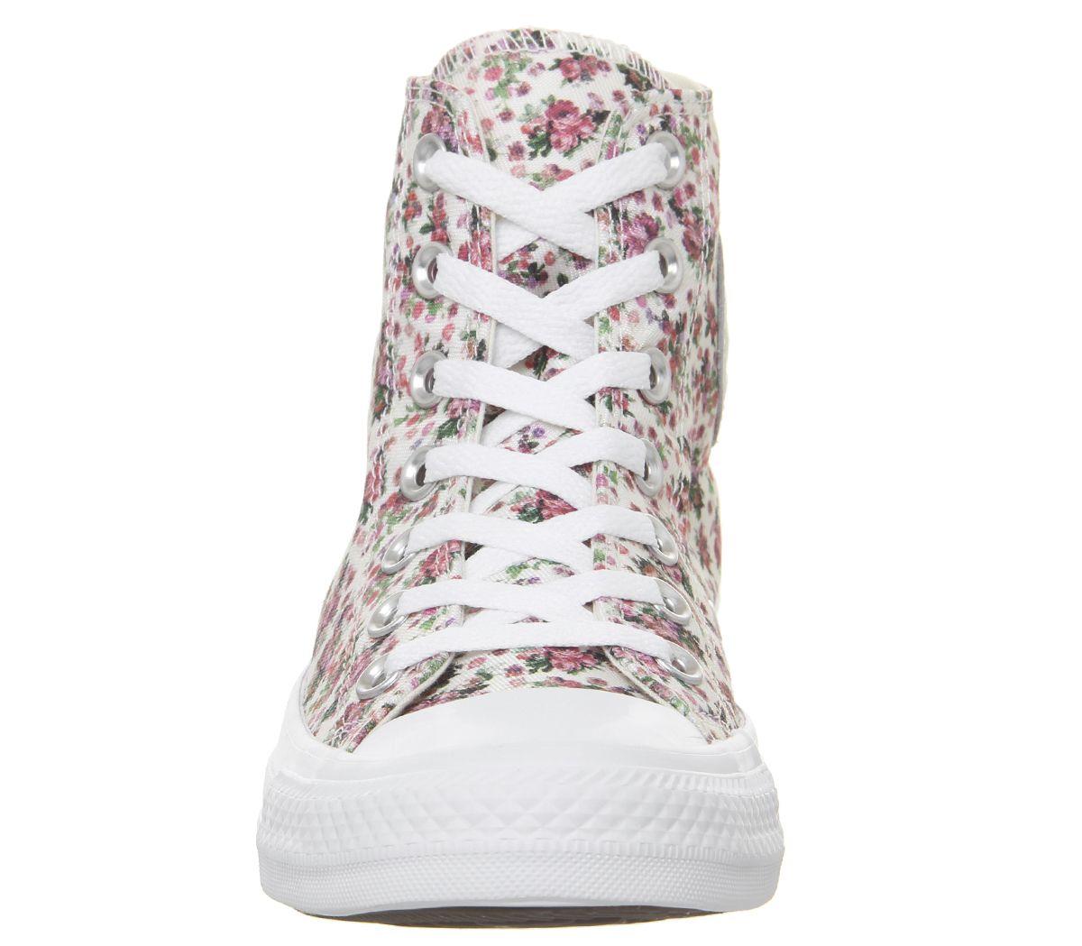 20b8e9c4c4f Converse Converse All Star Hi Trainers Pink Foam Egret White Floral ...
