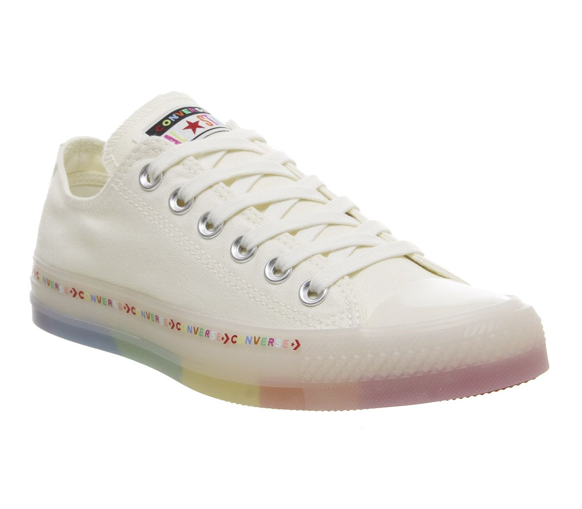 952d9ed5fed0 Converse Converse All Star Low Trainers Egret White Rainbow ...