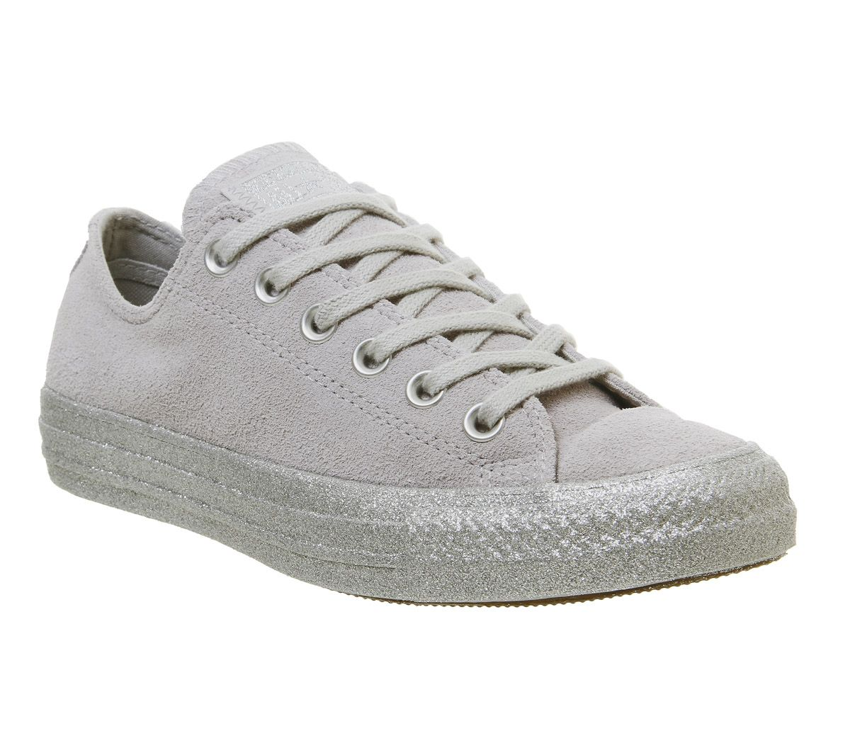 52008ead08bc Converse Converse All Star Low Trainers Ash Grey Silver Glitter ...
