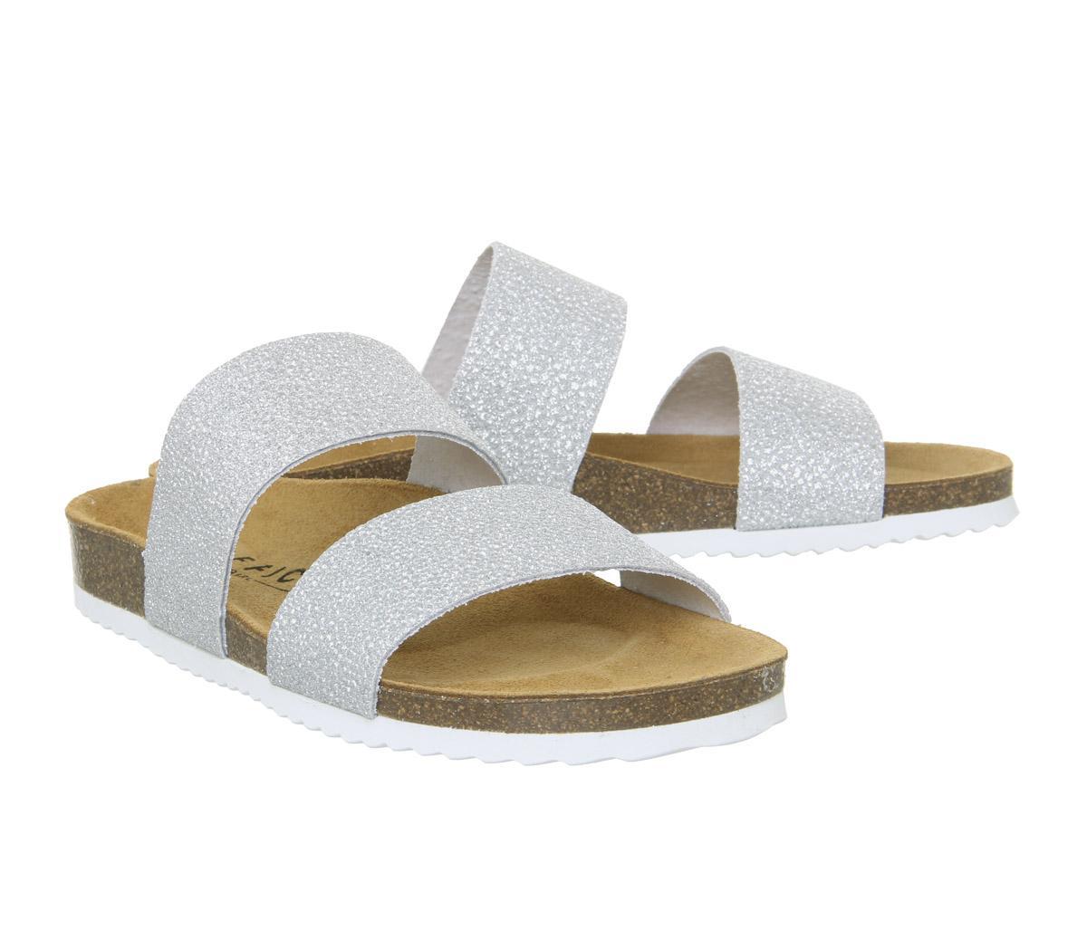 Womens Office Oslo 2 Sandals New Silver Glitter Sandals