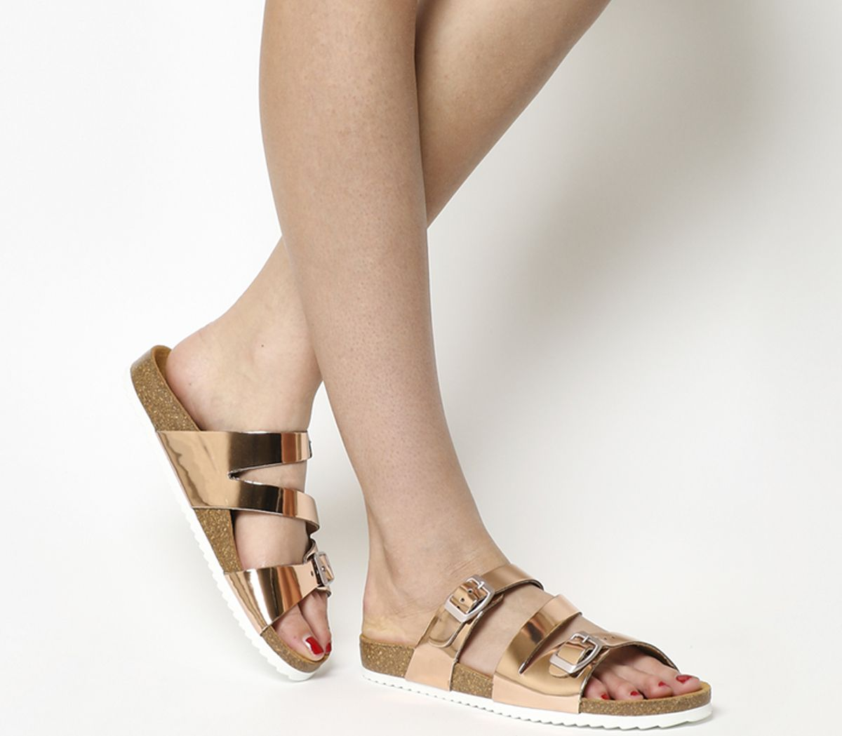da003c86a0 Office Bounty Cross Strap Footbed Sandals Rose Gold - Sandals