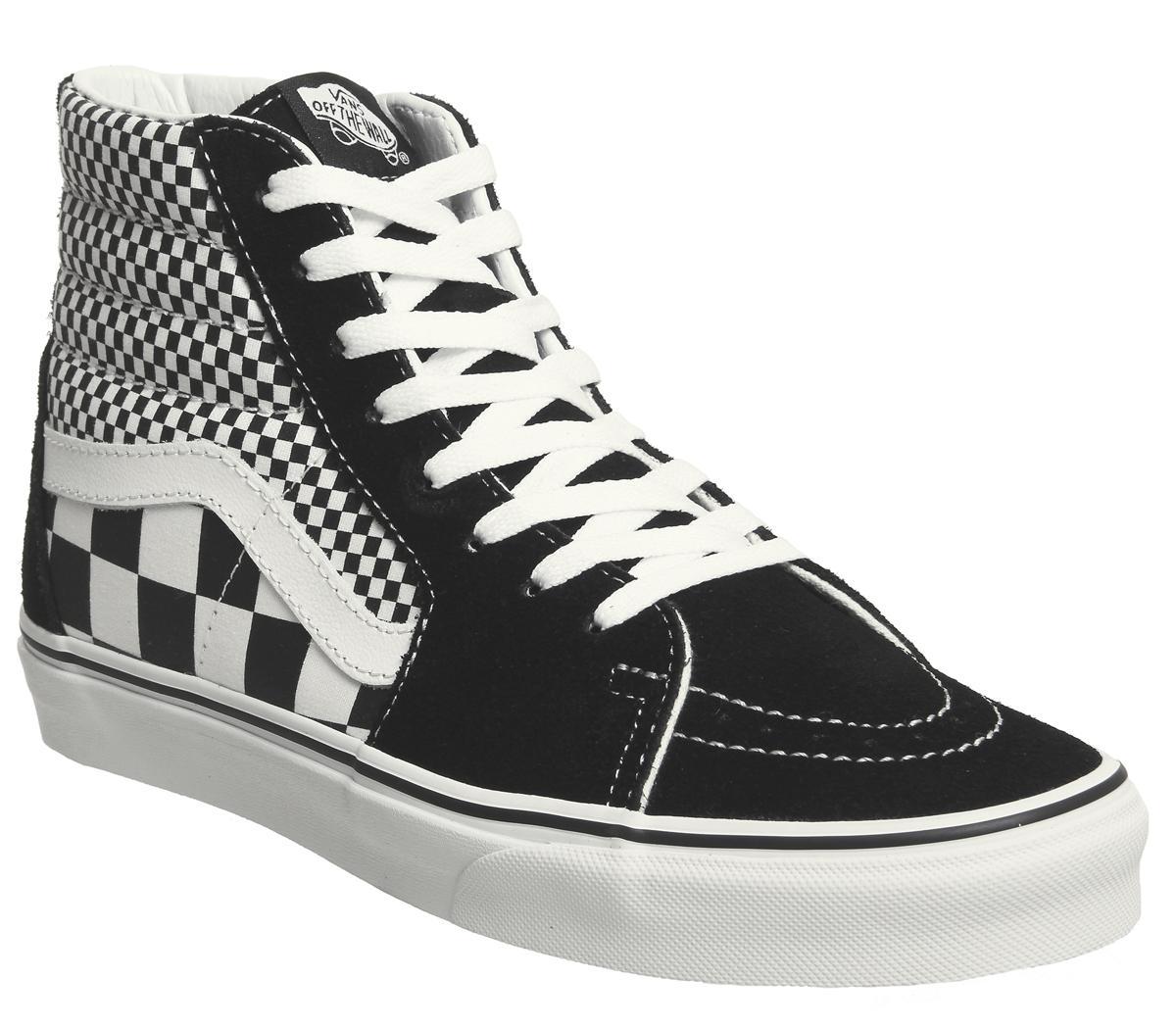 0b3a804119e1dc Vans Sk8 Hi Trainers Black White Mix Check - Unisex Sports