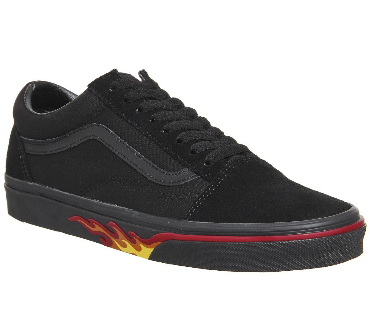 b854ca08da Vans Old Skool Trainers Black Flame Wall - Unisex Sports