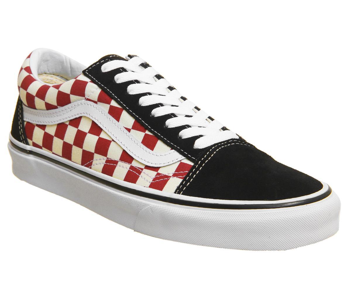 Vans Old Skool Trainers Black Red Checkerboard His trainers