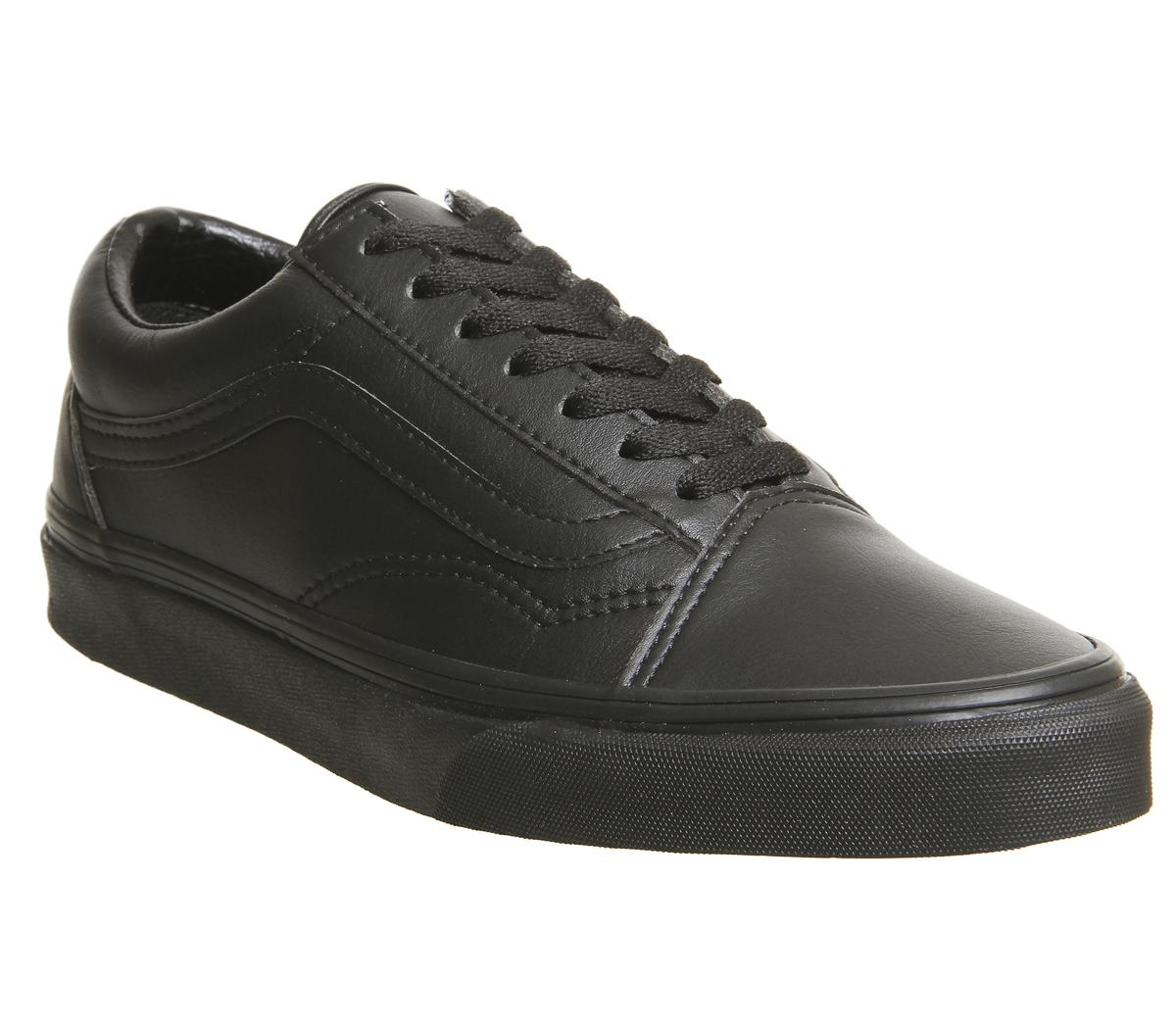 37827879a33521 Vans Old Skool Trainers Black Black Mono Leather - Unisex Sports