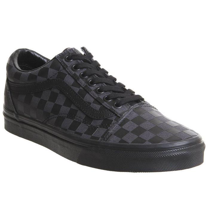 b358e1d03f05d Old Skool Trainers; Vans, Old Skool Trainers, Black Black Checkerboard ...