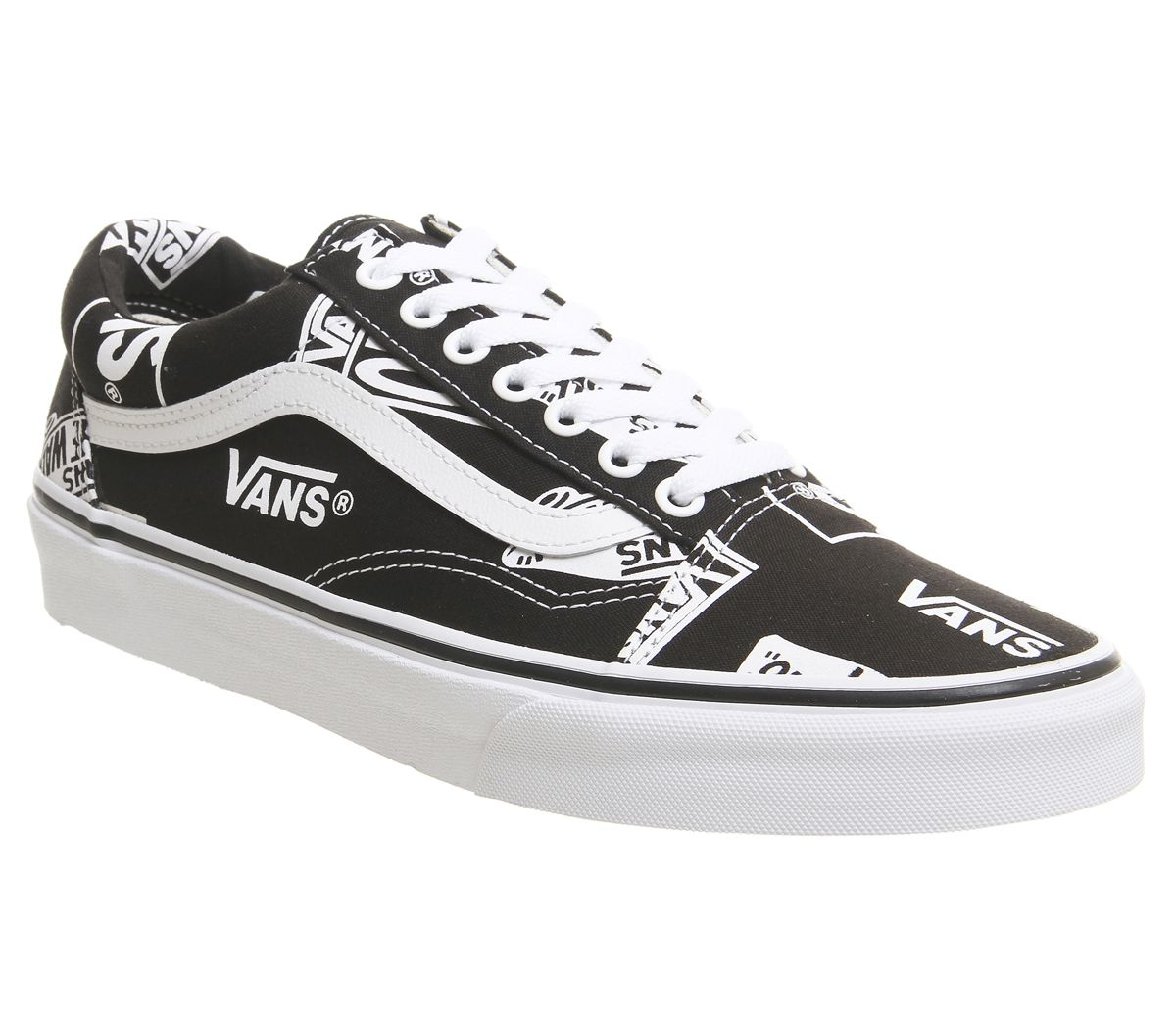 1308d511c0420 Vans Old Skool Trainers Black True White Logo - Unisex Sports