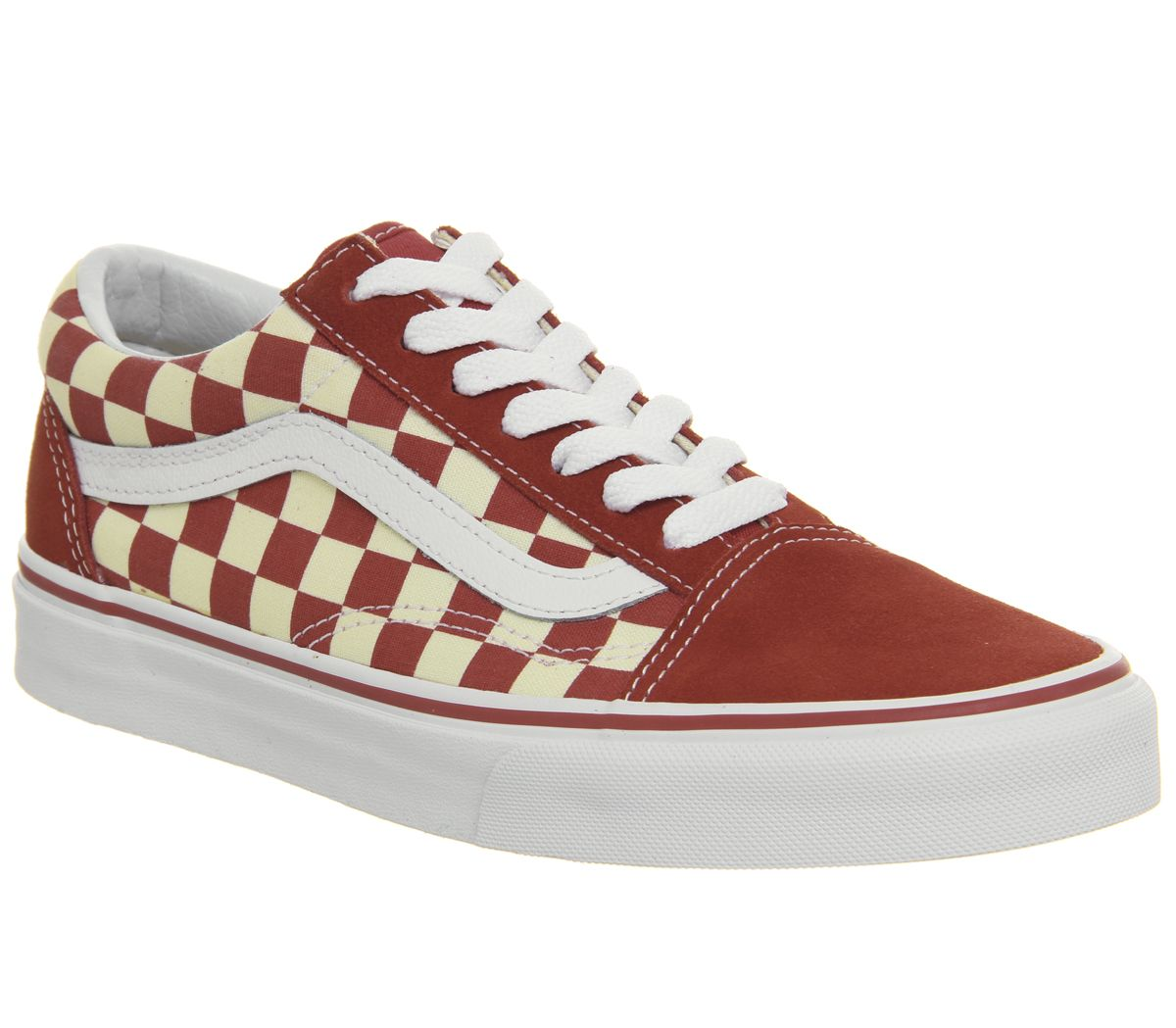 aeaf1d206f5 Vans Old Skool Trainers Racing Red Classic White Checkerboard ...