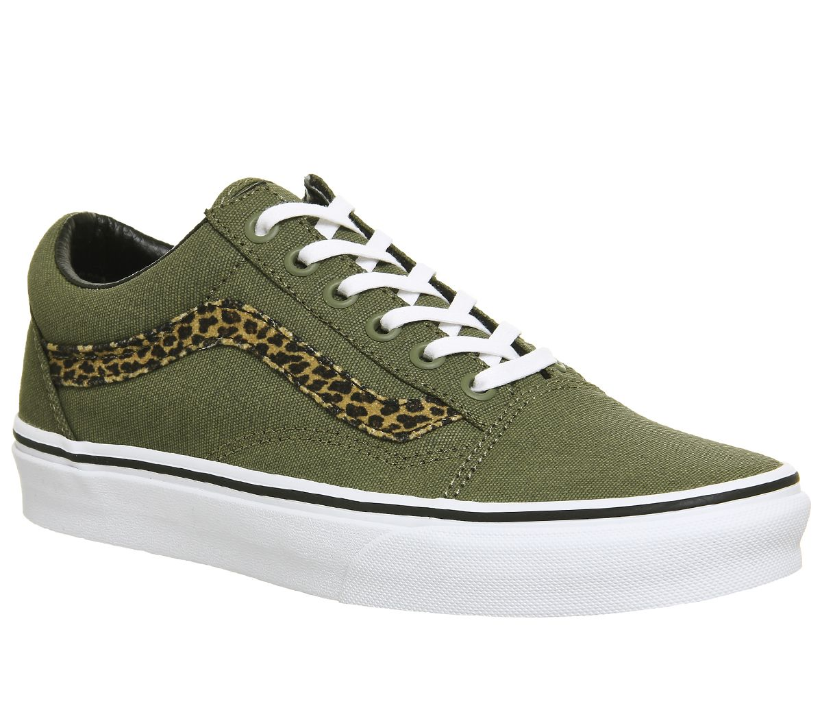 44438e38fd Vans Old Skool Trainers Mini Leopard Army Green White - Hers trainers