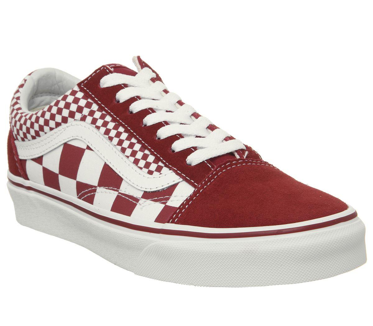 c472937bb7 Vans Old Skool Trainers Chilli Pepper Mix Check True White - Unisex ...