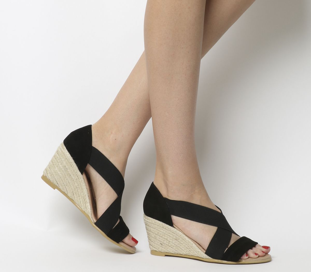 1a3f65580 Office Maiden Cross Strap Wedges Black With Black Elastic - Mid Heels