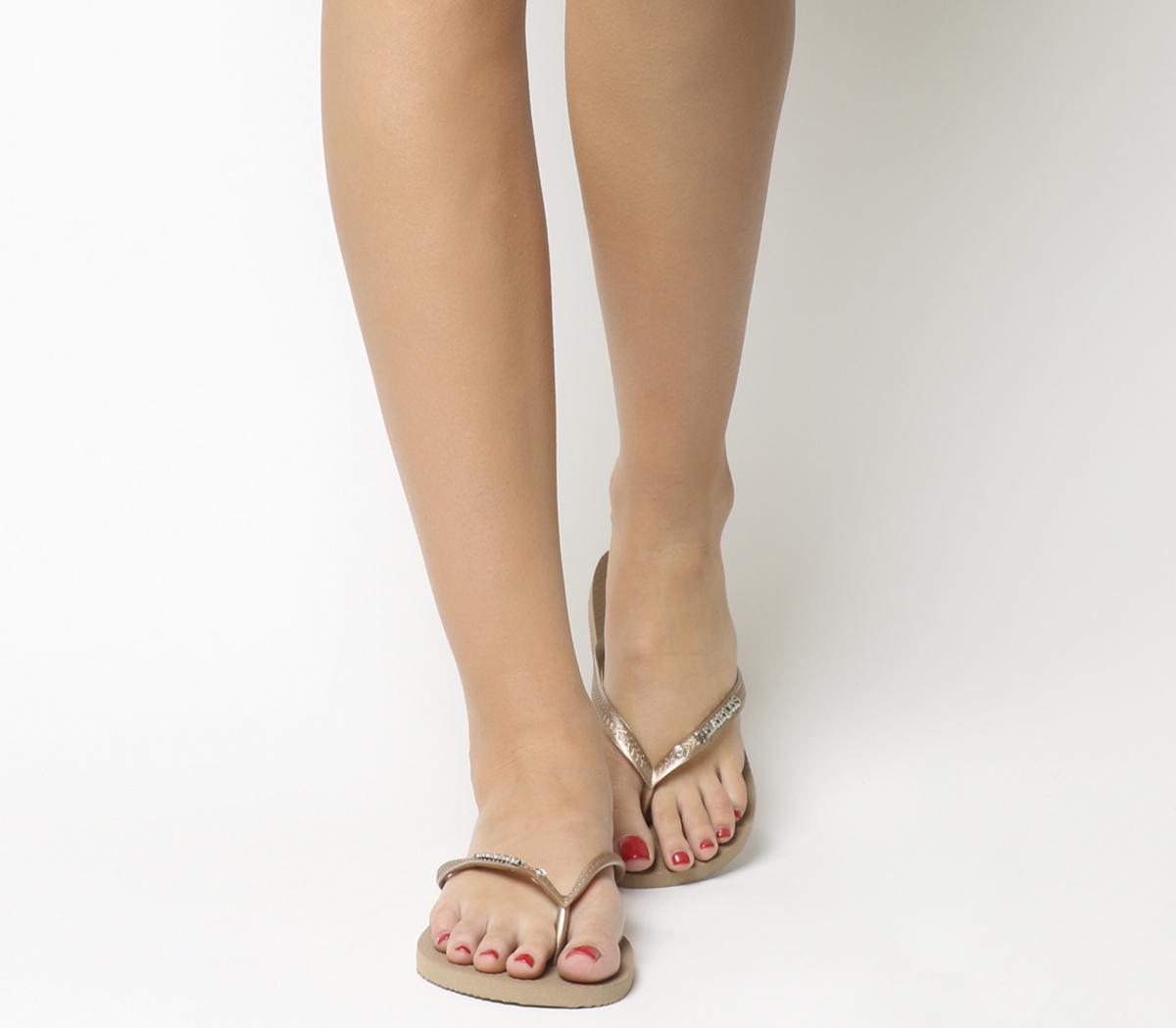 ab691b32be03 Havaianas Slim Metal Crystal Flip Flops Rose Gold - Sandals