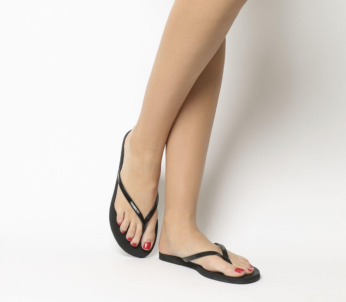 09a81748c Havaianas Slim You Metallic Flip Flops Black - Sandals
