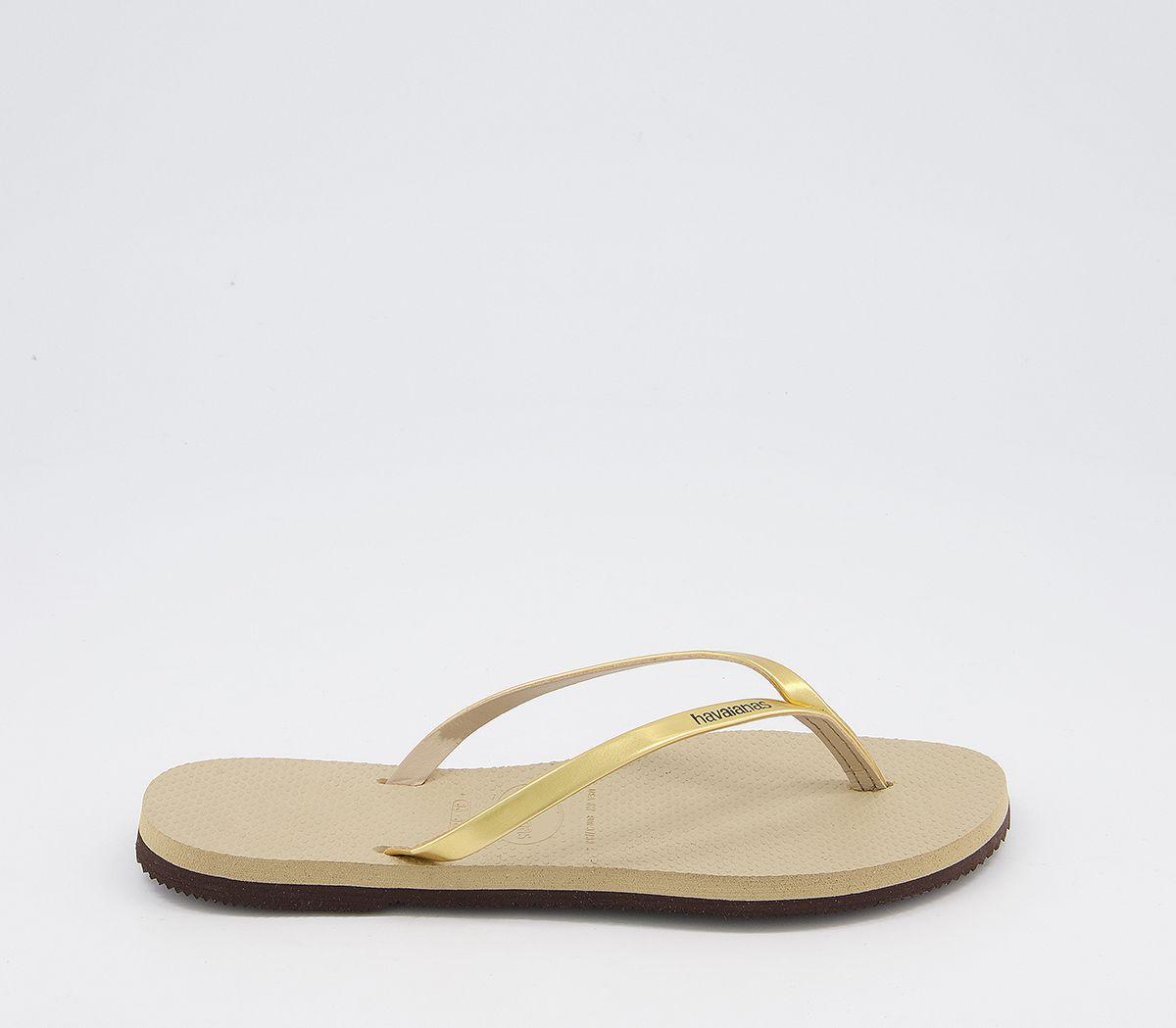 bb62bf167399 Havaianas Slim You Metallic Flip Flop Sand Grey Light Gold - Sandals