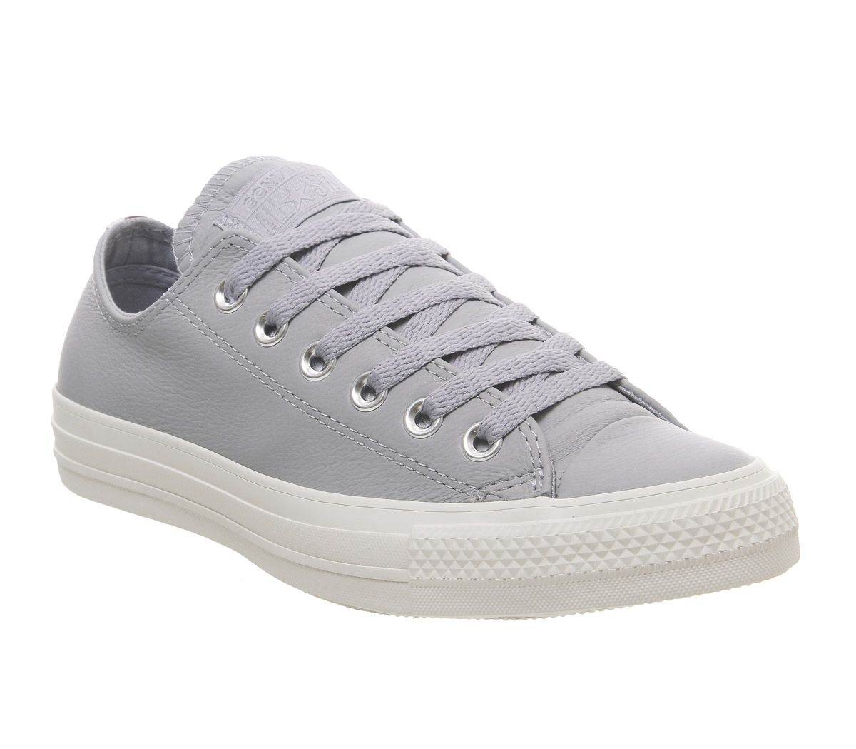 b538a8877b0 Converse Allstar Low Leather Trainers Wolf Grey Burgundy Navy Heel ...